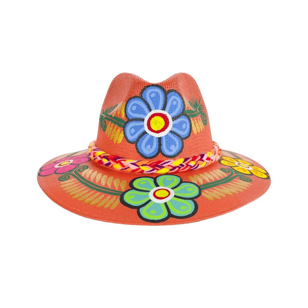 Carmen Hand-painted Hat - Orange Flowers - Josephine Alexander Collective
