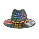 Carmen Hand-painted Hat - Smoky Blue Flowers - Josephine Alexander Collective