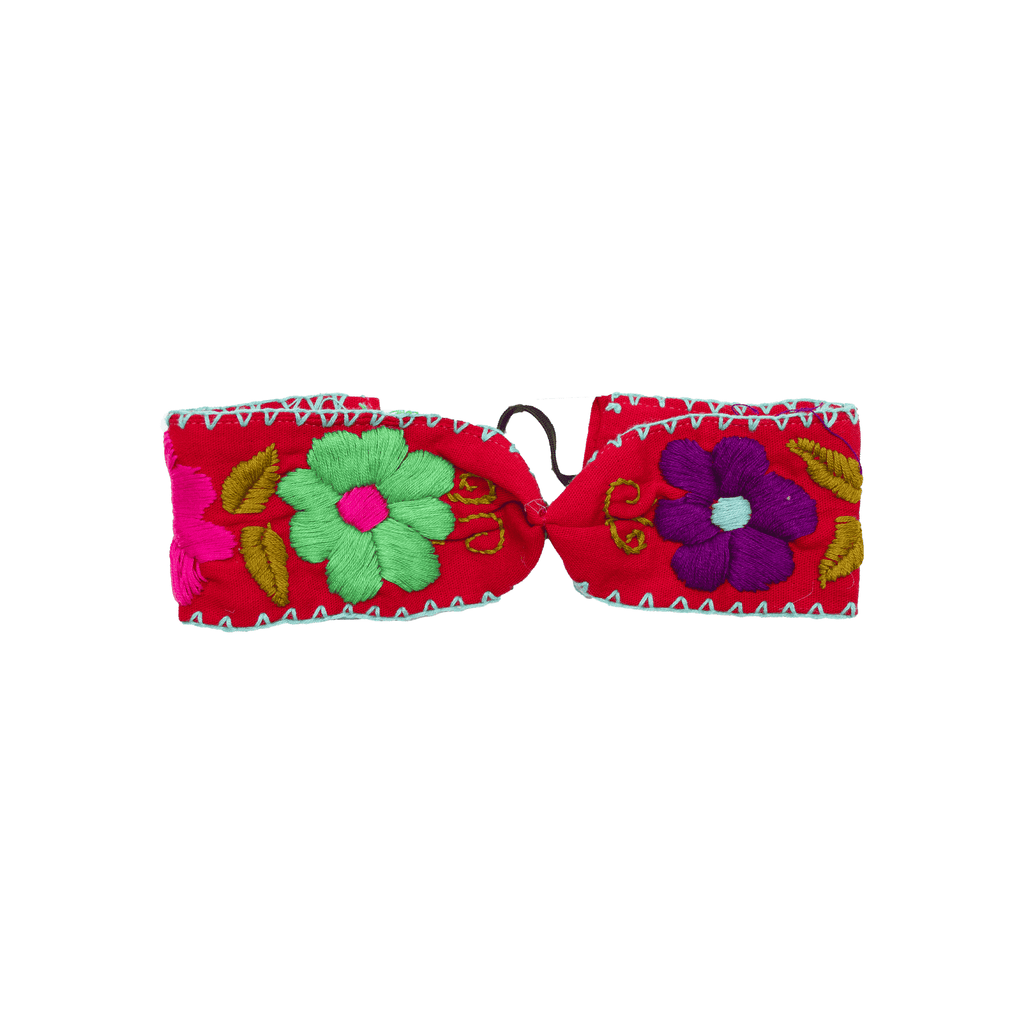 Cinched Headband in Red Flowers - Josephine Alexander Collective