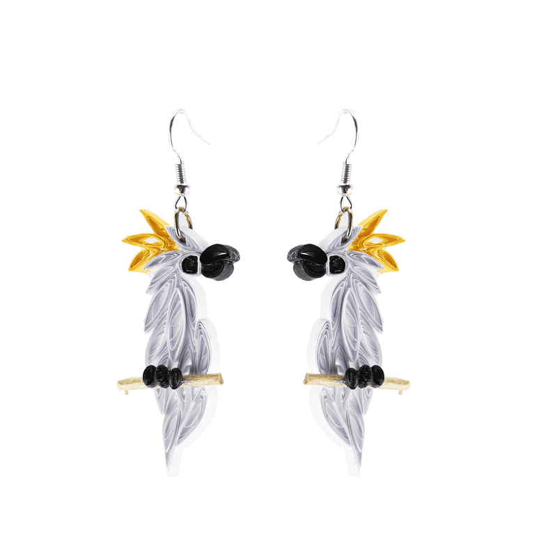 Birds of a Feather Earrings - Polly the Cockatoo - Josephine Alexander Collective