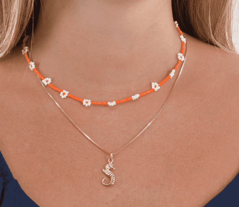 Coral Seahorse Necklace Stack - Josephine Alexander Collective