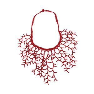 Beaded Coral Necklace in Red