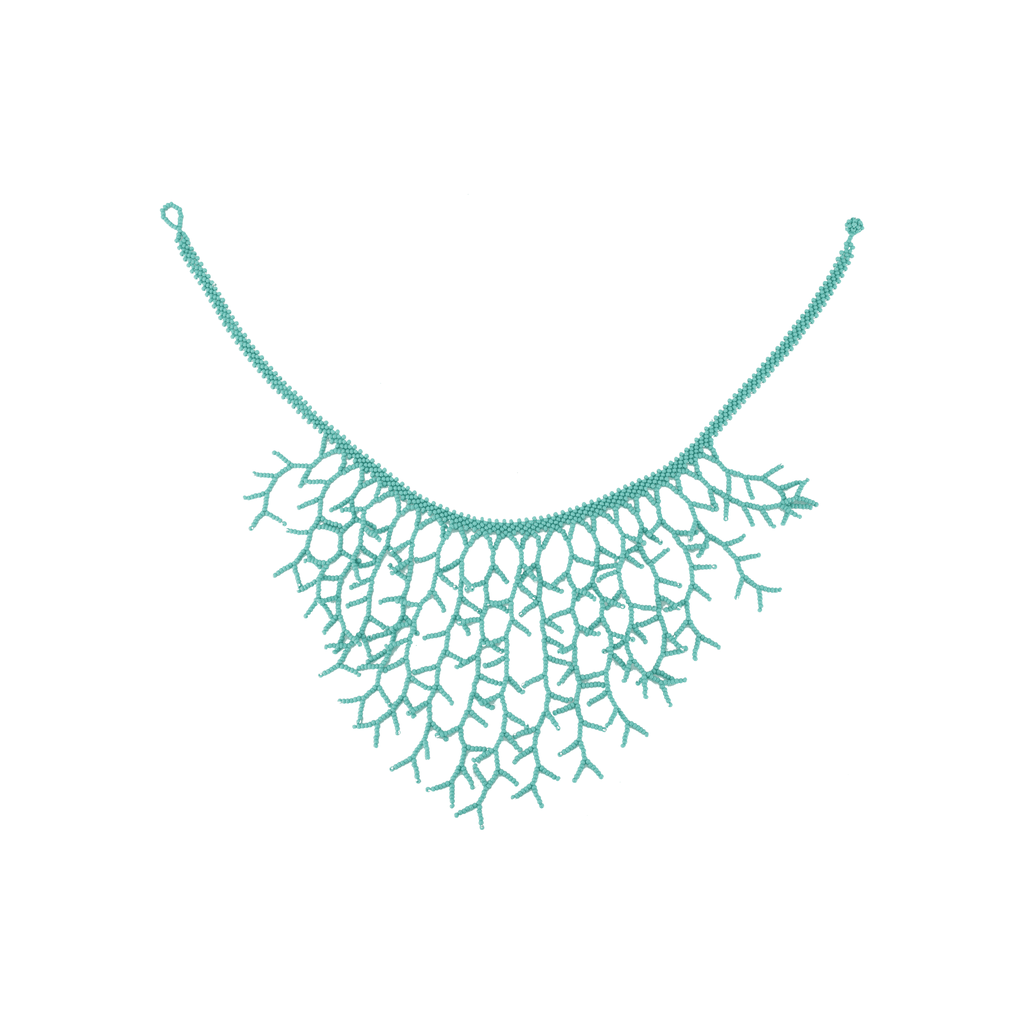 Beaded Ocean Necklace in Teal