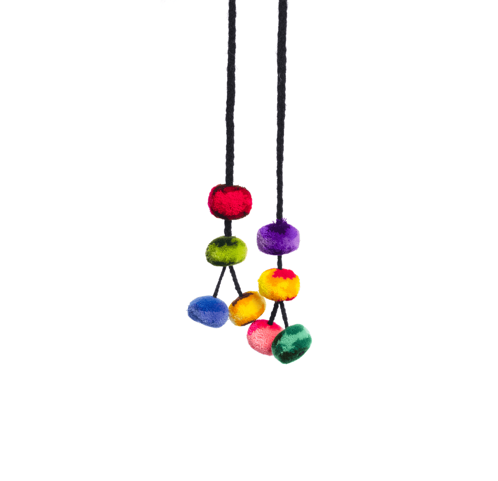 Cusco Pom Strand in Black Multi Rainbow - Josephine Alexander Collective