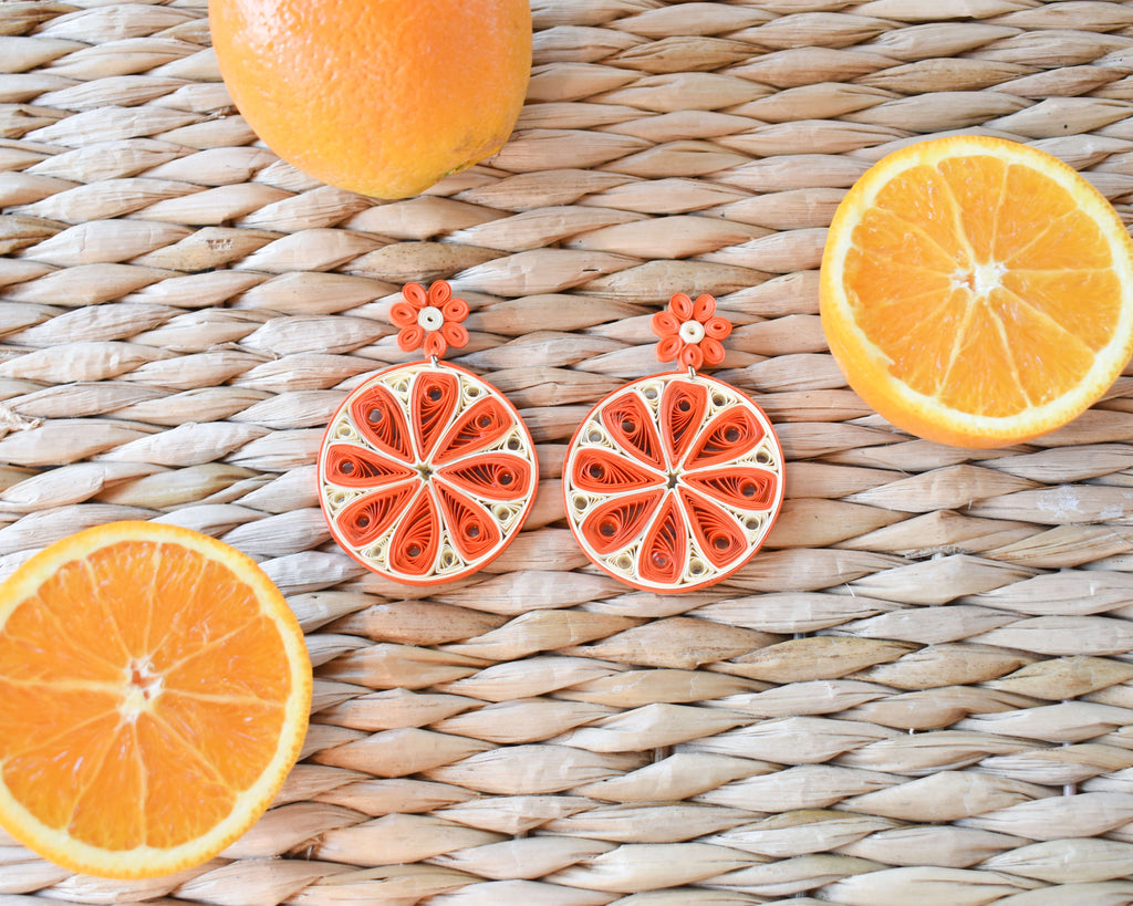 Orange Slice Quilled Earrings