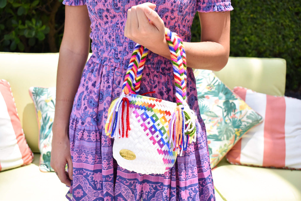 Mini Bucket Bag in Blue Splash of Rainbow - Josephine Alexander Collective