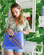 Kim Woven Handbag in Blue Splash of Rainbow - Josephine Alexander Collective