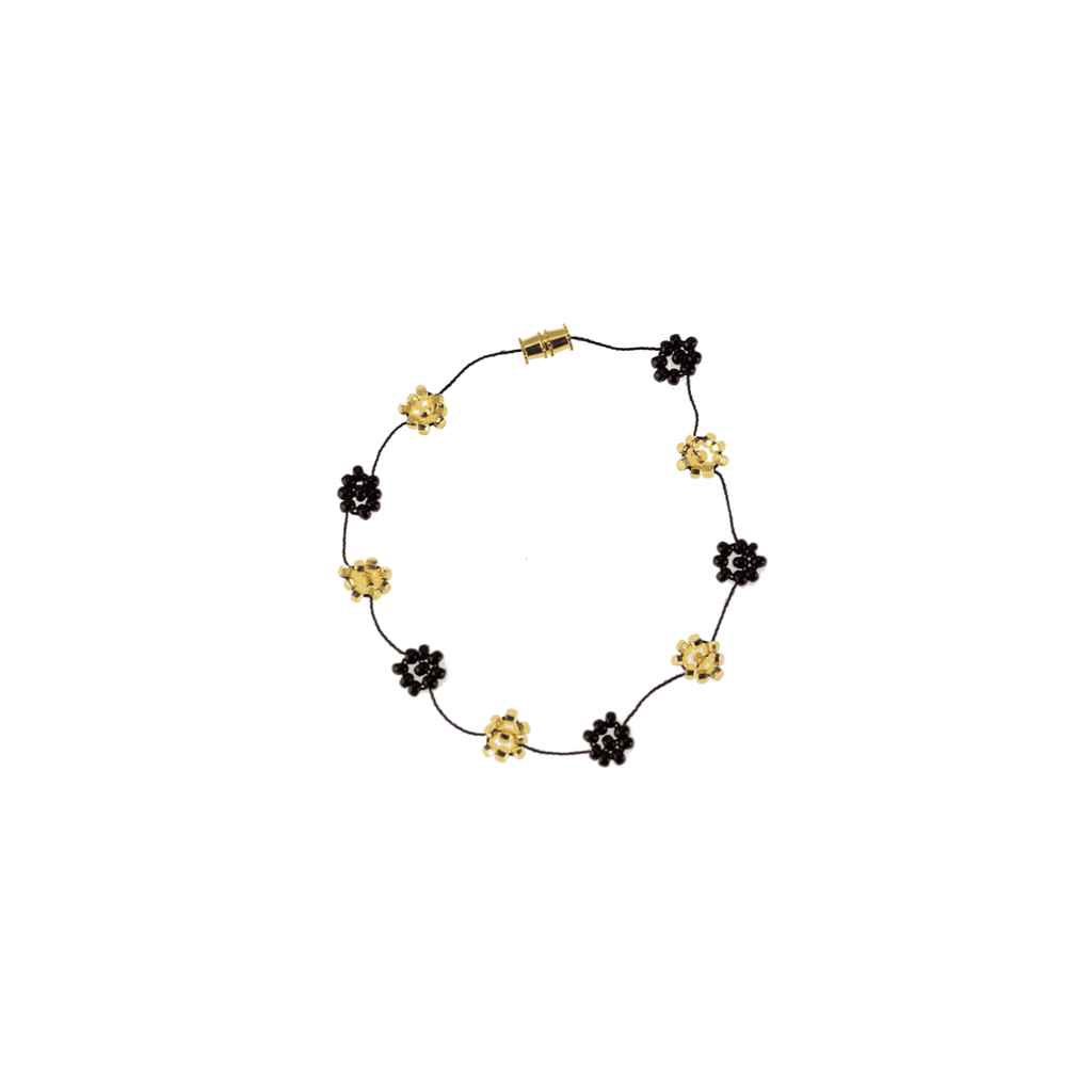 Daisy Chain Bracelet in Black and Gold - Josephine Alexander Collective