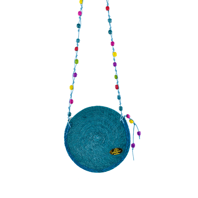 Diana Straw Bag in Turquoise - Small