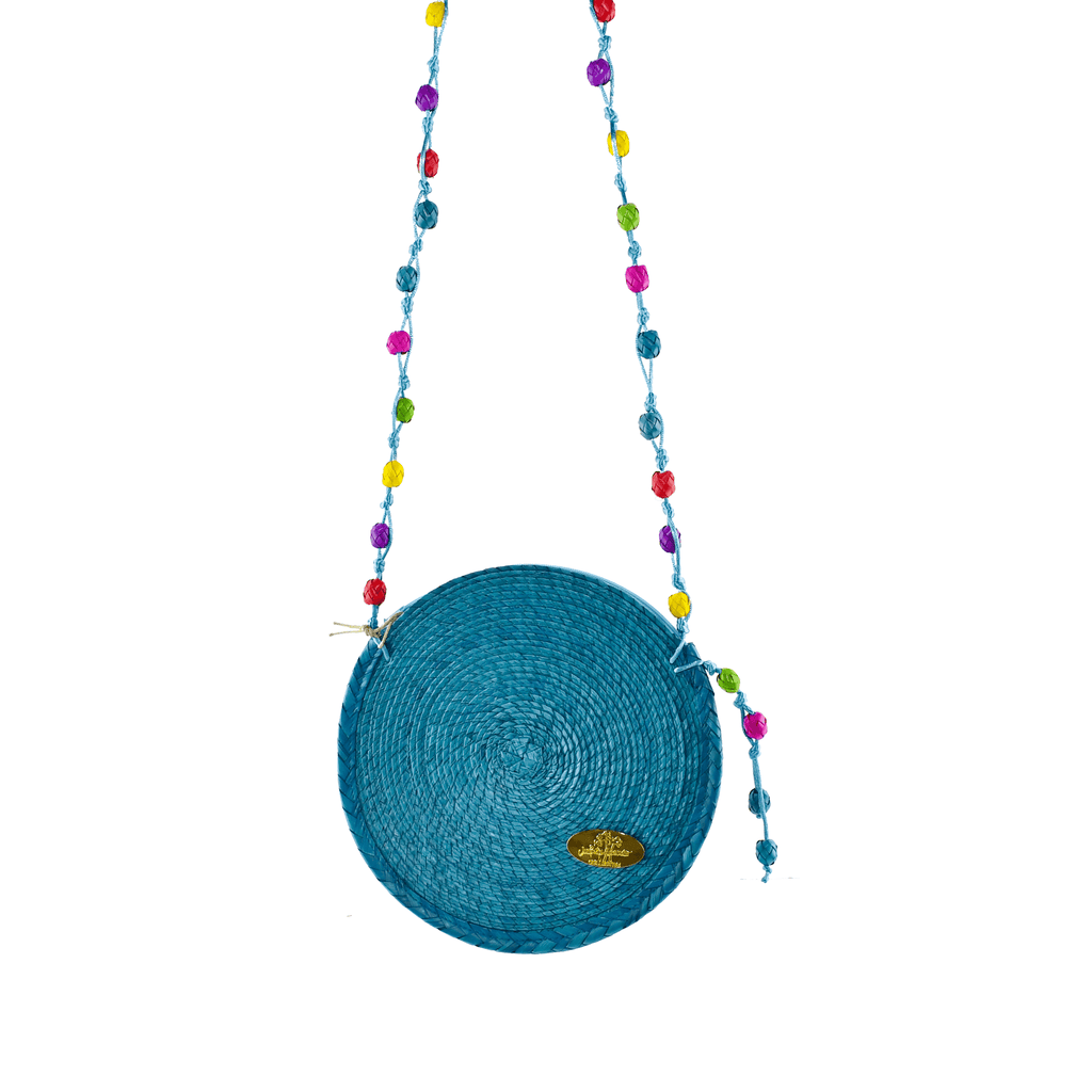 Diana Straw Bag in Turquoise - Large