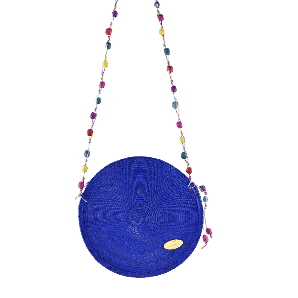 Diana Straw Bag in Blue - Large