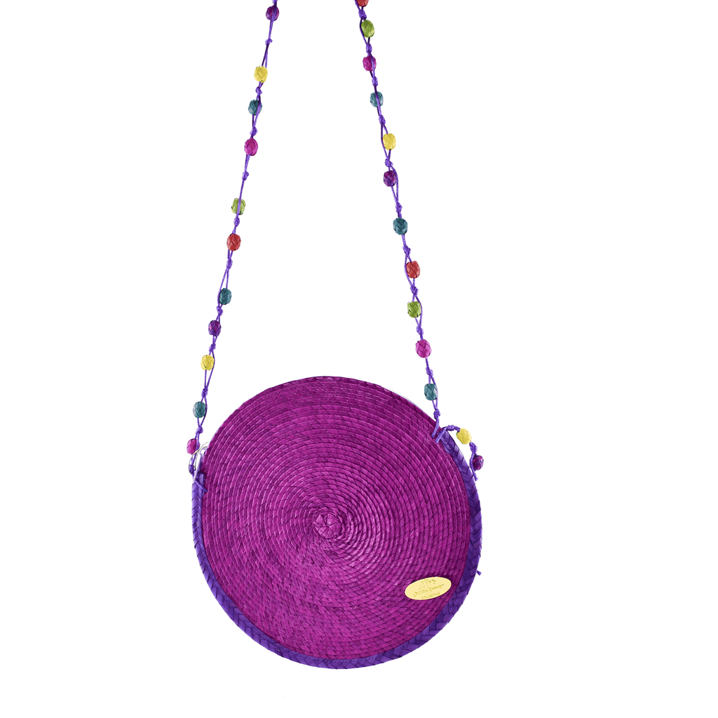 Diana Straw Bag in Purple- Large