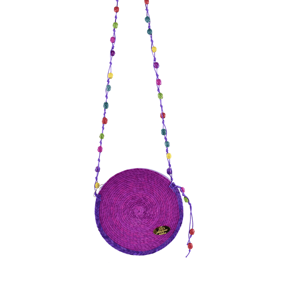 Diana Straw Bag in Purple - Small