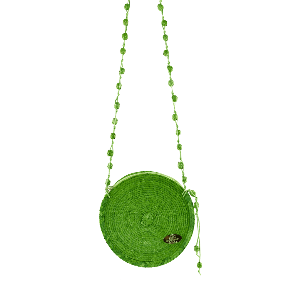Diana Straw Bag in Green on Green- Small - Josephine Alexander Collective