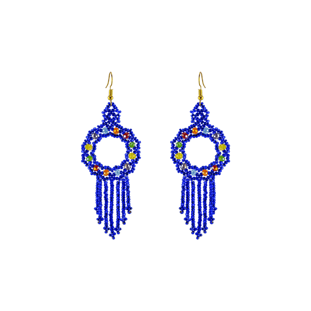 Dreamer Earrings in Royal Blue Rainbow - Josephine Alexander Collective