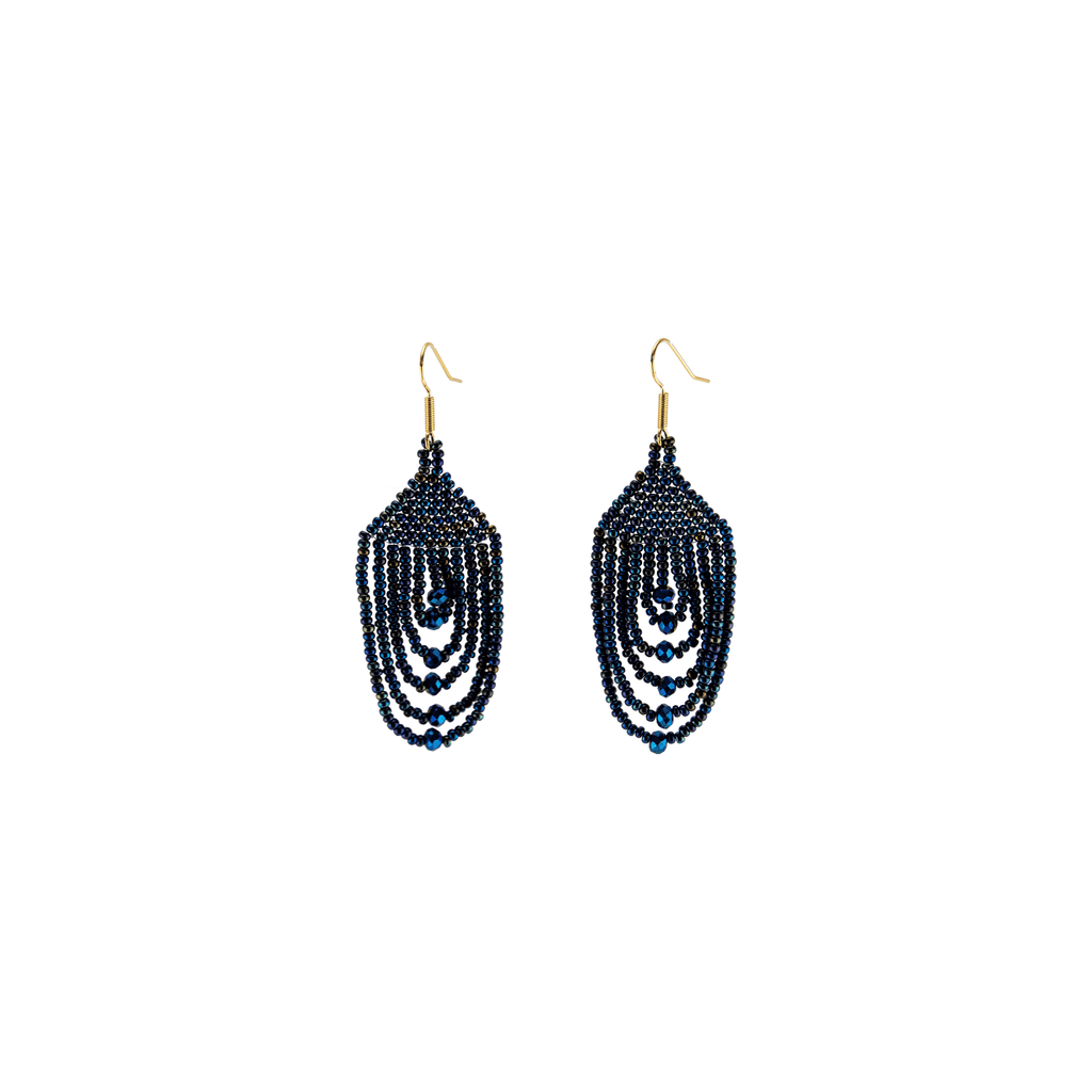 Empire Earrings in Iridescent Blue