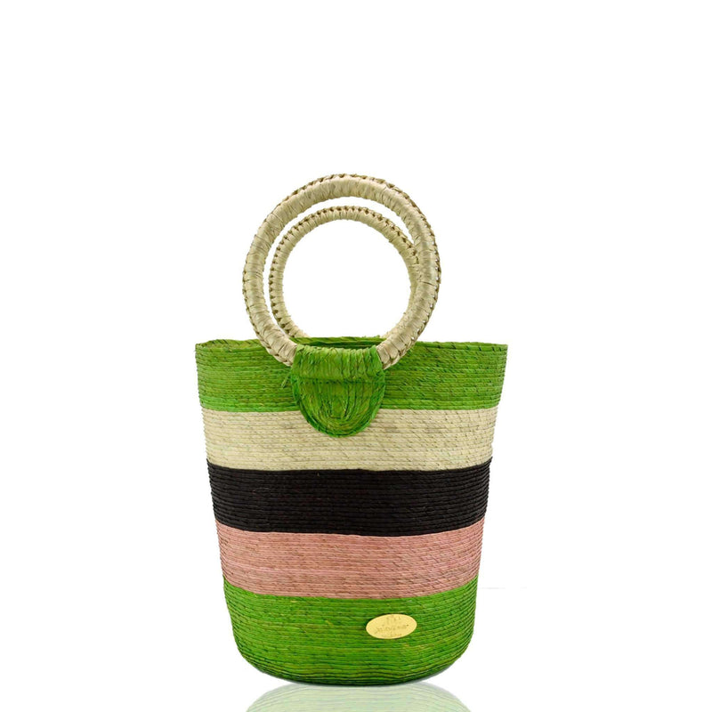 Fabiola Straw Bucket Bag in Apple Ginger Martini