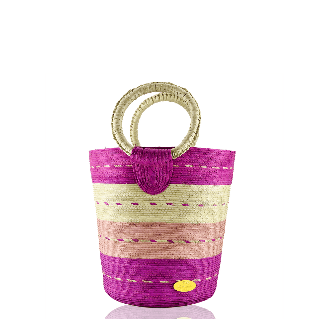 Fabiola Straw Bucket Bag in Pink Hibiscus - Josephine Alexander Collective