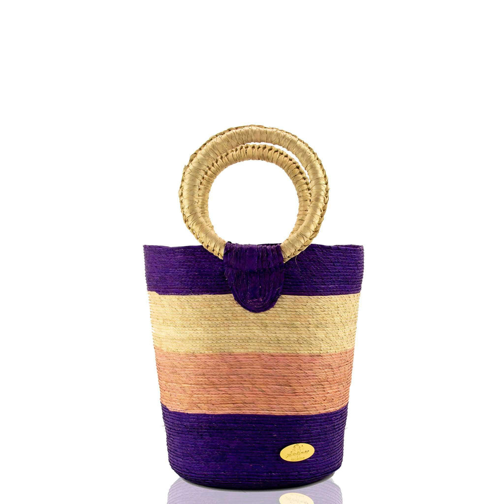 Fabiola Straw Bucket Bag in Lavender Lemonade