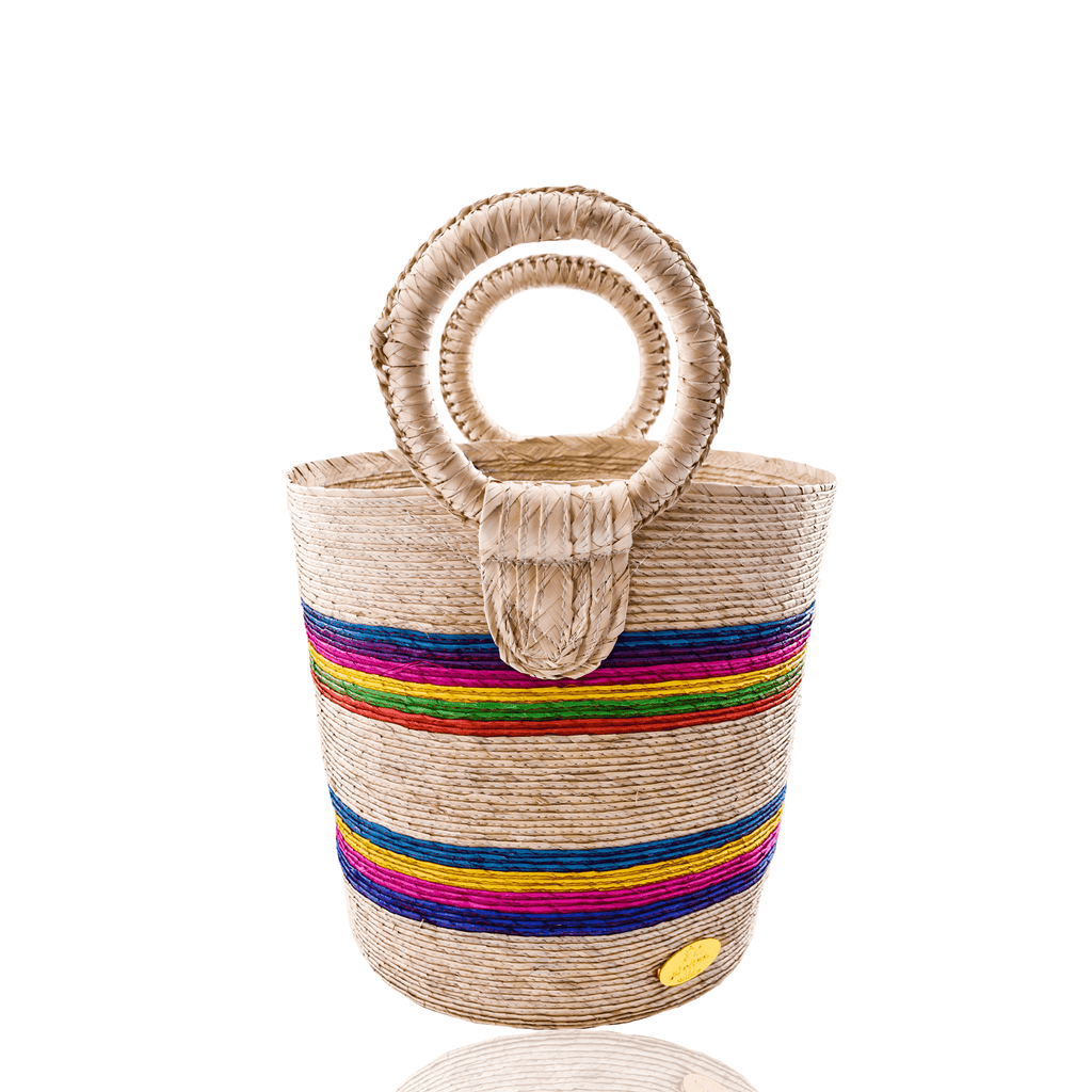 Fabiola Straw Bucket Bag in Whipped Rainbow