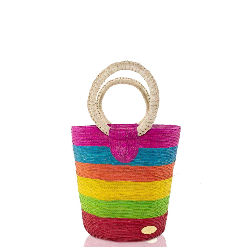 Fabiola Straw Bucket Bag in Arco Iris - Josephine Alexander Collective