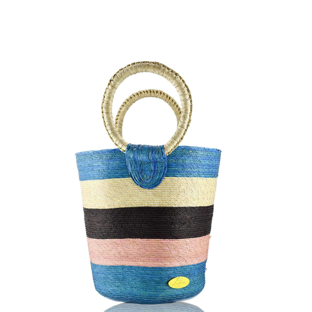 Fabiola Straw Bucket Bag in Cielito Lindo - Josephine Alexander Collective