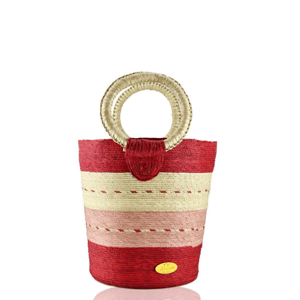 Fabiola Straw Bucket Bag in Lollipop - Josephine Alexander Collective