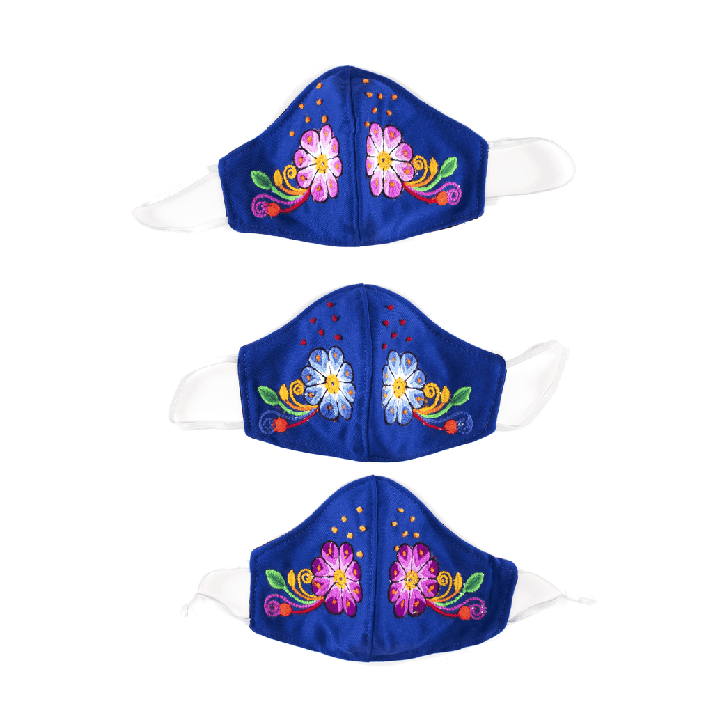 Feli Masks - Royal Blue Flowers with Freckles - Josephine Alexander Collective