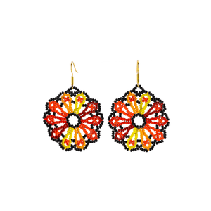 Flower Slice Earrings in Tabasco