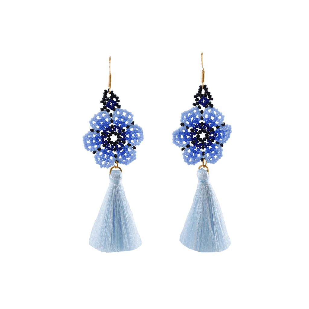 Dancing Flower Tassel Earrings in Surf