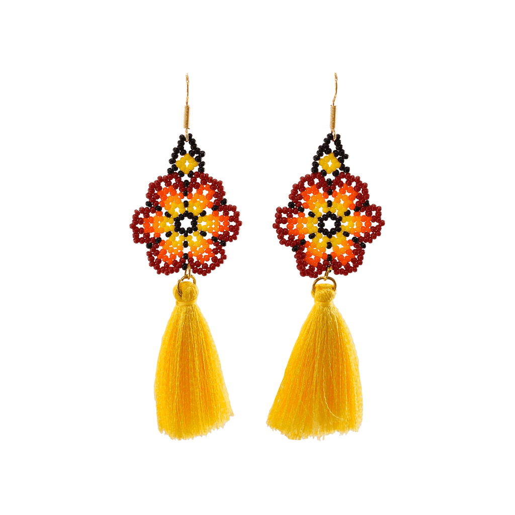 Dancing Flower Tassel Earrings in Kauai