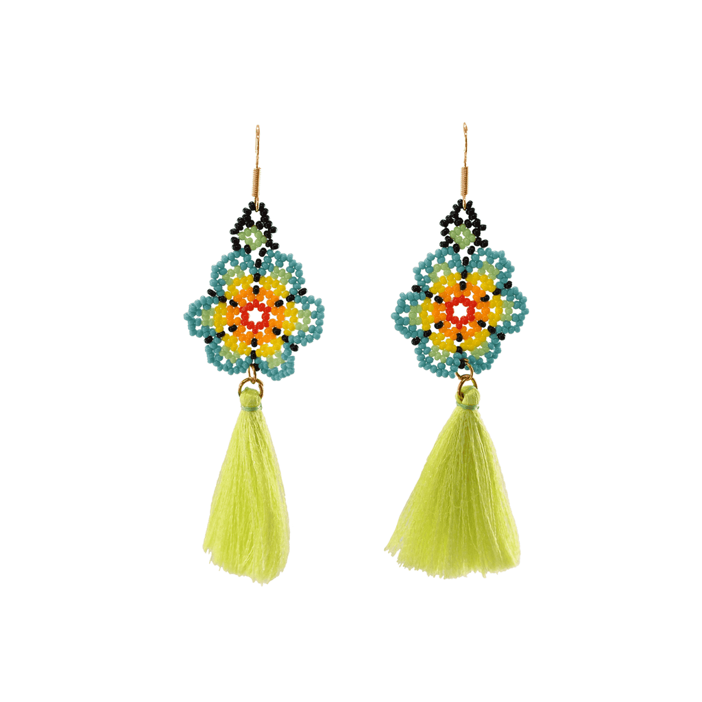 Dancing Flower Tassel Earrings in Lei - Josephine Alexander Collective