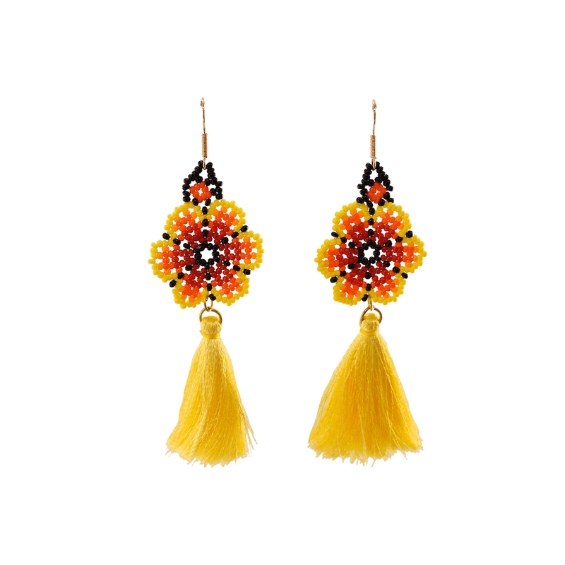 Dancing Flower Tassel Earrings in Maui - Josephine Alexander Collective