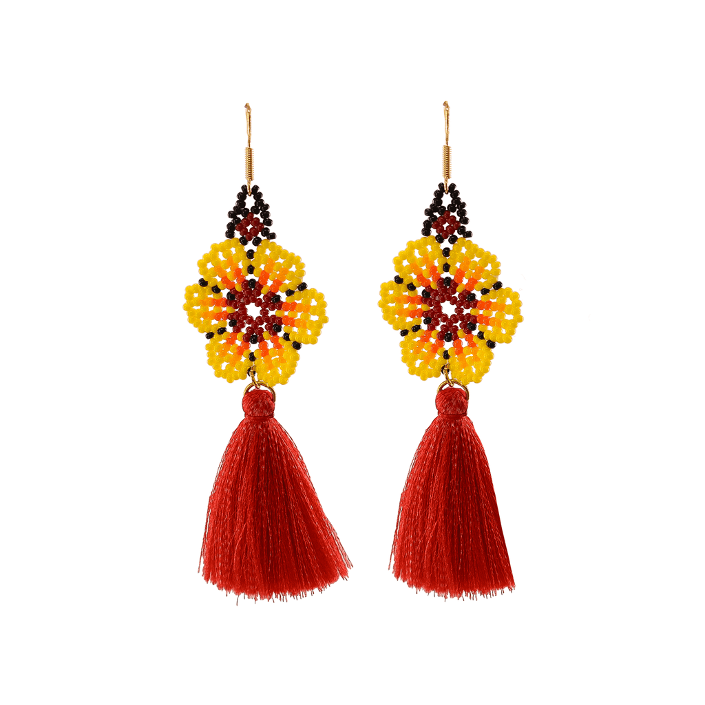 Dancing Flower Tassel Earrings in Tiki
