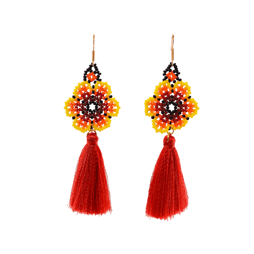Dancing Flower Tassel Earrings in Red Hibiscus