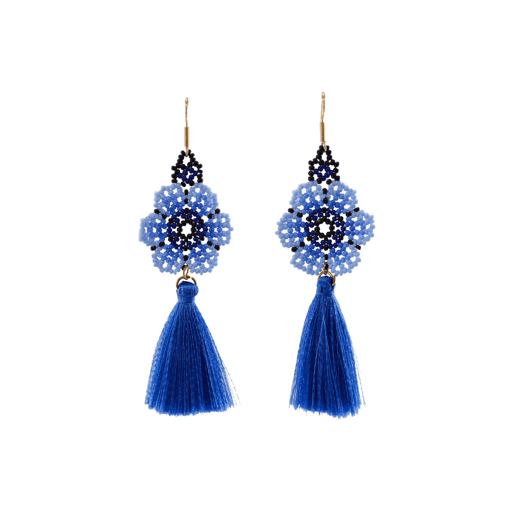 Dancing Flower Tassel Earrings in Sea