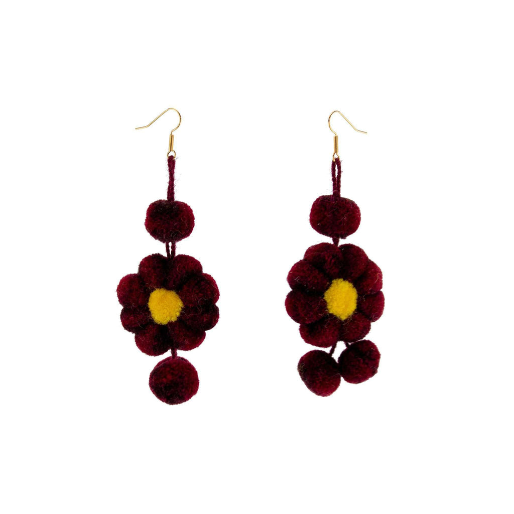 Pom Flower Earrings in Garnet and Gold - Josephine Alexander Collective