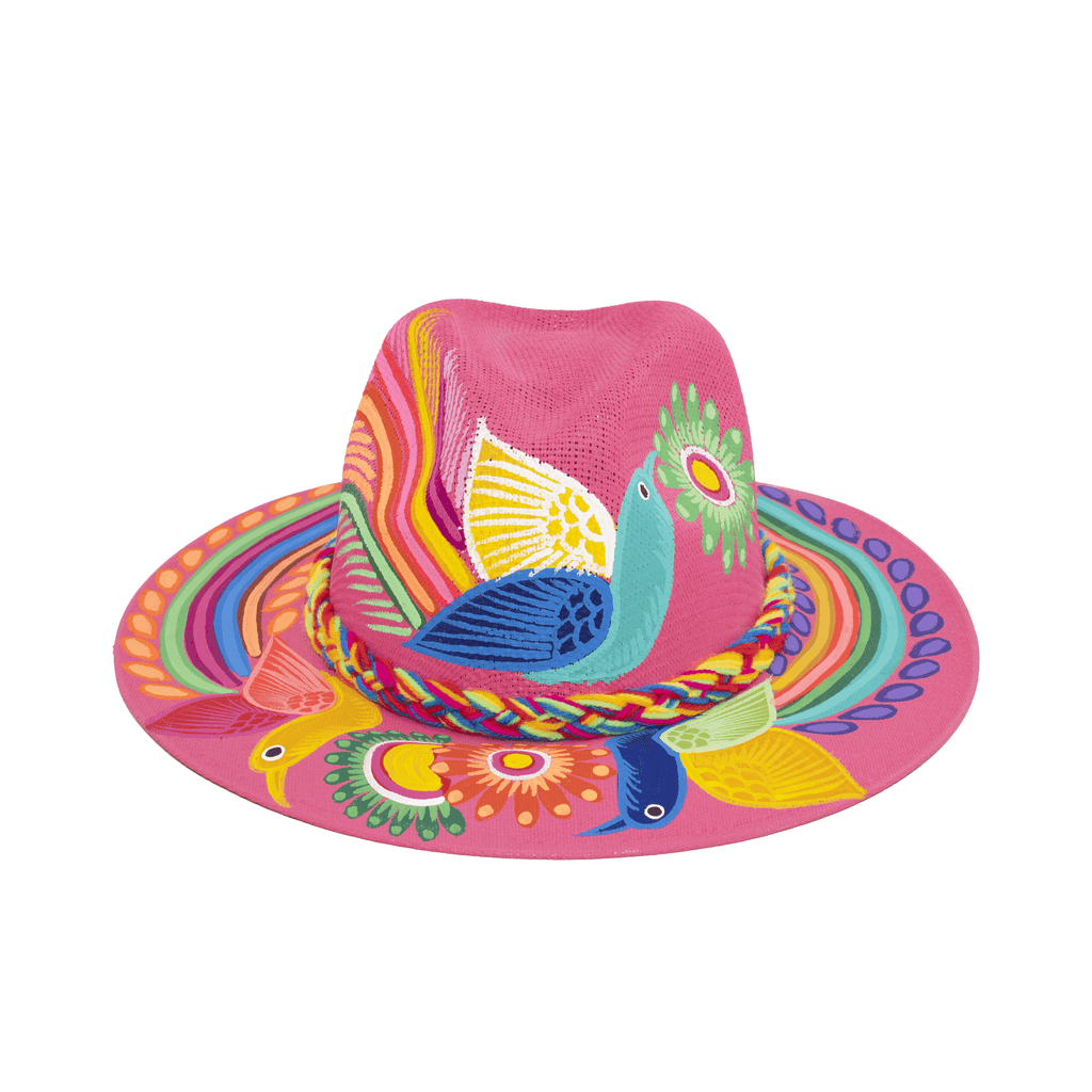 Hand-painted Hat in Hot Pink with Birds - Josephine Alexander Collective