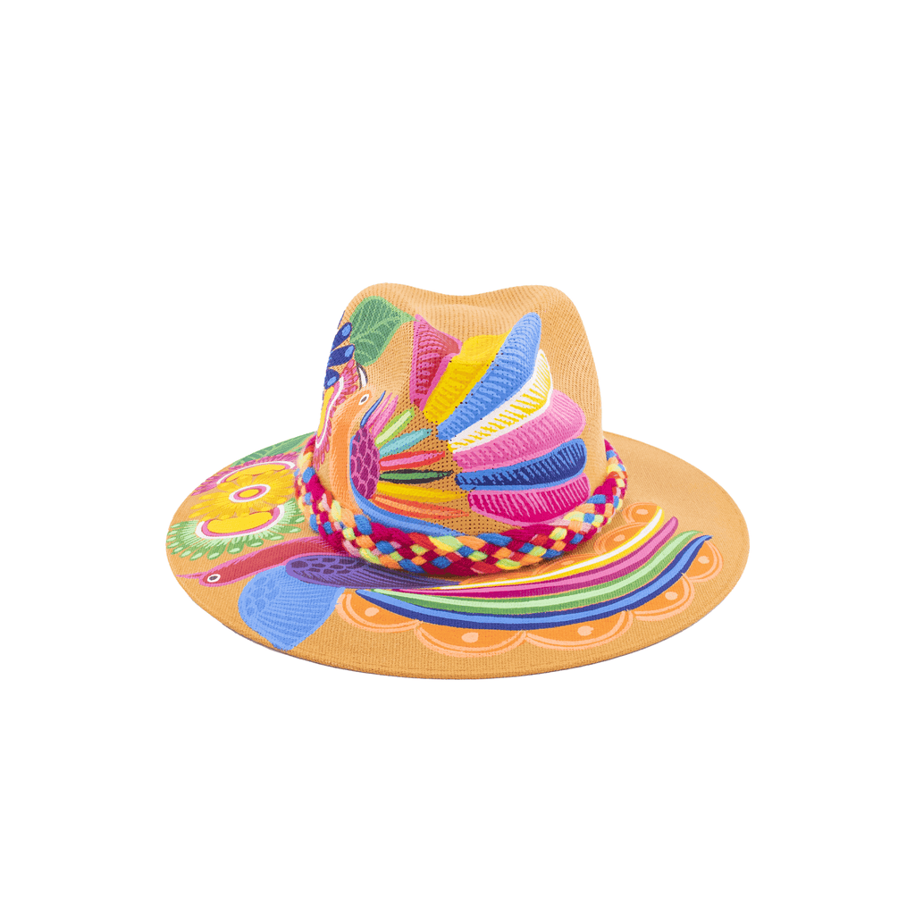 Hand-painted Hat in Amber with Rainbow - Josephine Alexander Collective