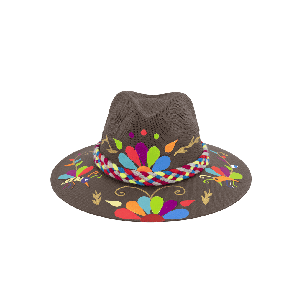 Carmen Hand-painted Hat - Brown Rainbow Flowers - Josephine Alexander Collective