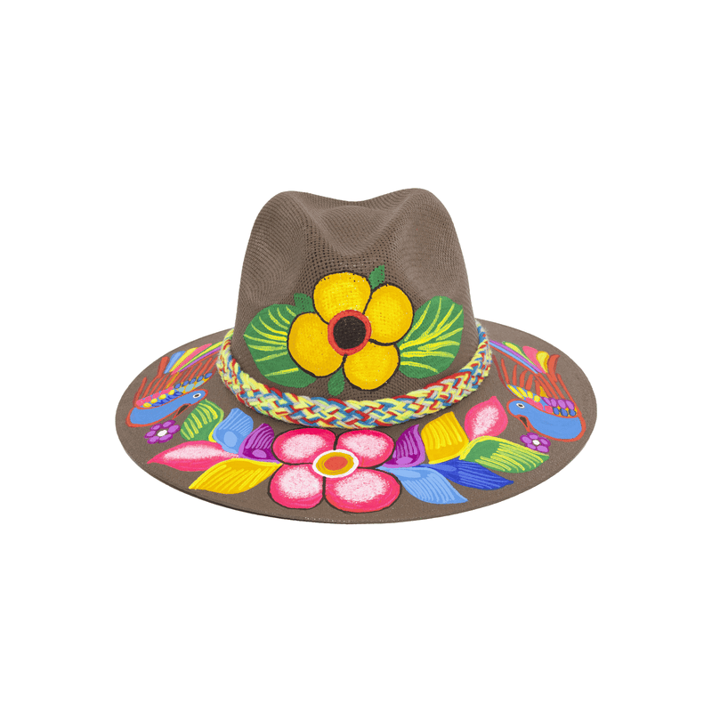 Carmen Hand-painted Hat - Brown Flowers - Josephine Alexander Collective