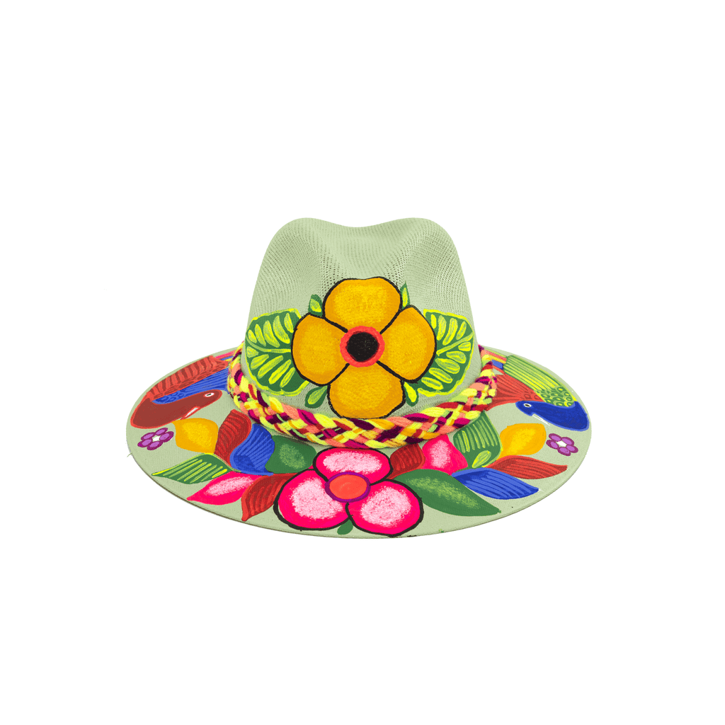 Hand-painted Hat in Mint with Flowers - Josephine Alexander Collective