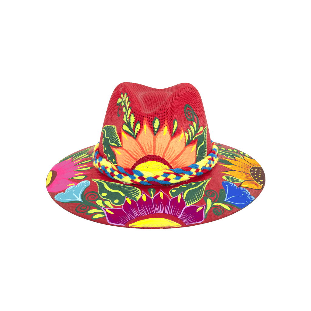 Hand-painted Hat in Red with Flowers - Josephine Alexander Collective