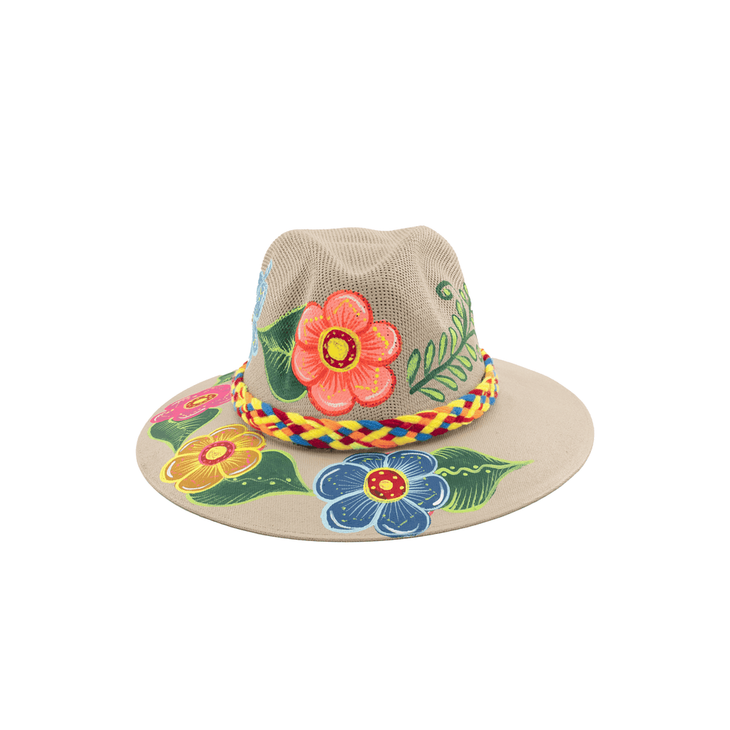Hand-painted Hat in Tan with Flowers - Josephine Alexander Collective