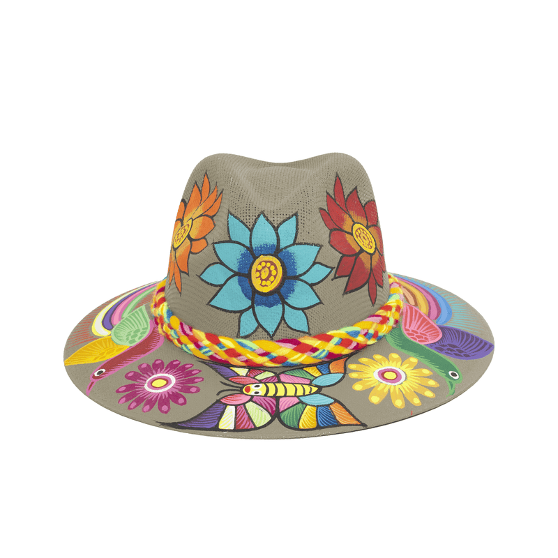 Hand-painted Hat in Taupe with Flowers - Josephine Alexander Collective