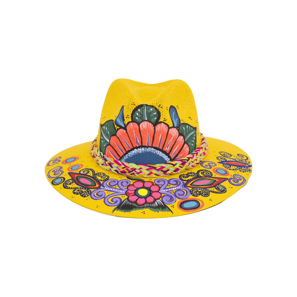 Carmen Hand-painted Hat - Yellow Flowers - Josephine Alexander Collective