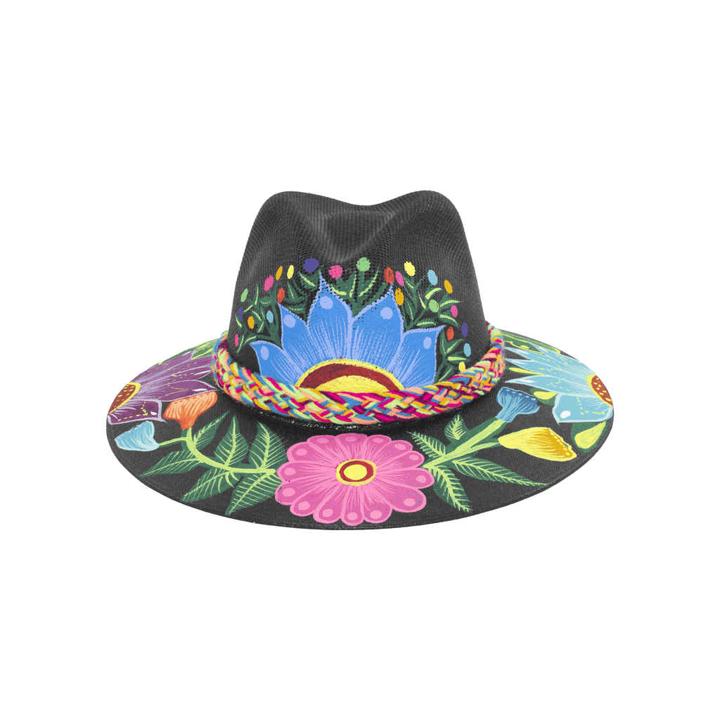 Carmen Hand-painted Hat - Black Flower - Josephine Alexander Collective