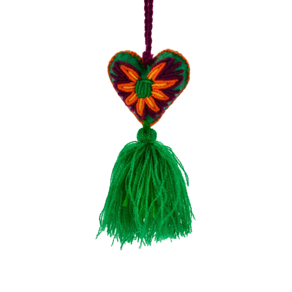 Heart Pom Tassel in Green Grape