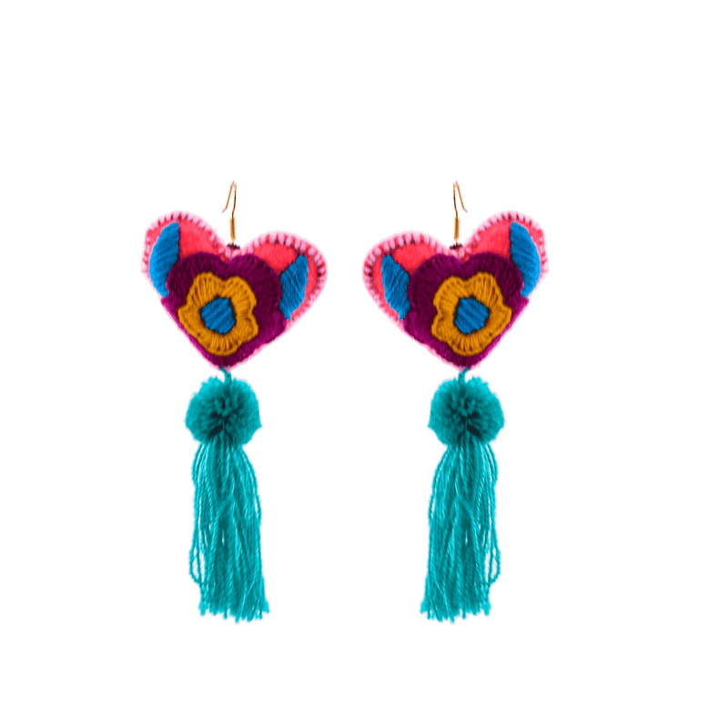 Heart Tassel Earrings in Hot Pink and Teal - Josephine Alexander Collective