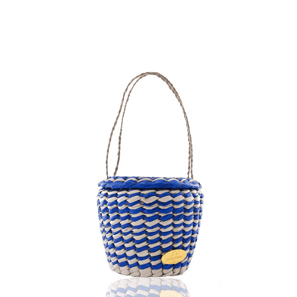 Honey Pot Basket Bag in Blue and White